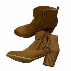 Brash Ankle Booties with Fringe Size 10